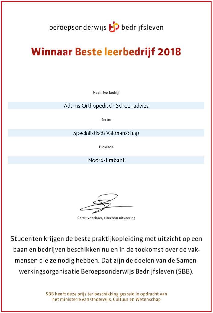 Beste leerbedrijf 2018